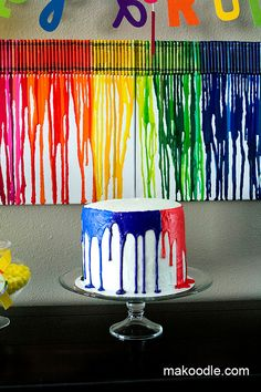 """""""Melting Crayon"""" Birthday Cake - what a fun theme! It's an easy craft to do with Preschoolers, as well! A bit more original of a theme than """"Princesses"""" or """"Cars"""", too..."""