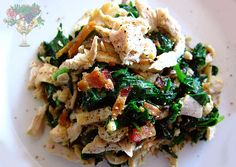 turkey-bacon-spinach sauté:  •1/2 pound cooked leftover turkey or chicken •2-3 cups fresh spinach •3-5 pieces bacon •3-5 fresh shiitake mushrooms •2 cloves garlic, pressed •Tamari