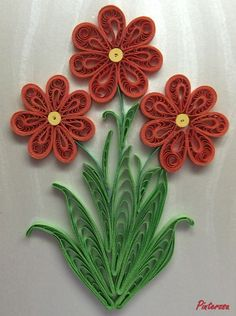 red quilled flowers