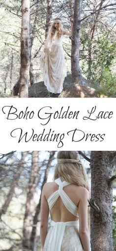 Boho Golden Lace Wedding Dress | Golden Lace Bridal Gown | Maxi Lace Bridal Gown | Boho Wedding Dress | This dress is so stunning!  I love how light, feminine, and airy it is! #wedding #weddinginspiration #weddingdresses #boho #bohostyle #bohowedding #lace #etsy #etsyfinds #affiliatelink Wedding Bridesmaid Dresses, Boho Wedding Dress, Lace Wedding, Dream Wedding, Wedding Reception Venues, Wedding Ceremony, Bridal Gowns, Wedding Gowns, Ethereal Wedding