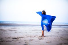 Howling wolf and moon - blue hand painted beach wrap - pareo sarong - wolf art animal spirit - extra large scarf or shawl royal blue on Etsy, $120.00