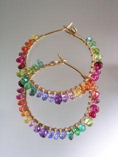 Rainbow Gemstone Hoops Colorful Small Earrings by bellajewelsII Gems Jewelry, Cute Jewelry, Jewelry Crafts, Jewelery, Jewelry Accessories, Jewelry Design, Gemstone Earrings, Beaded Earrings, Beaded Jewelry