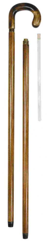 A smart beech wood tippling stick with a chunky crook handle The handle unscrews to reveal a glass flask with stopper hidden inside the shaft of the