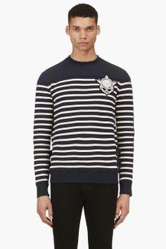 BALMAIN Navy Ribbed & Embroidered Nautical Shirt