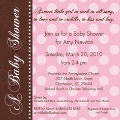 pink and brown baby shower invitations - Google Search