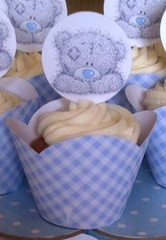 Tatty Teddy Cupcakes in Blue & White Gingham Check Cupcake Wrappers