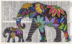 Whimsical Rainbow Elephant Print  Drawn by by GeorgiePearlDesigns, $5.00
