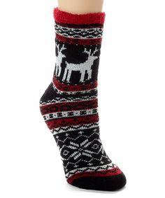 Look what I found on #zulily! Black & Red Reindeer Fair Isle Gripper Socks #zulilyfinds