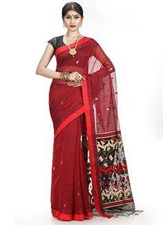 Maroon Bengal Handloom Tant Saree