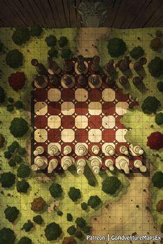 [OC][Art] The Giant Chess Board Battle Map - battlemaps Dnd World Map, Fantasy World Map, Dungeons And Dragons Homebrew, D&d Dungeons And Dragons, Dragon Chess, Dnd Stats, Giant Chess, Rpg Map, Fantasy Battle