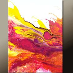 Abstract Painting Yellow Purple Painting On Canvas Art Acrylic - Abstract painting on canvas ideas