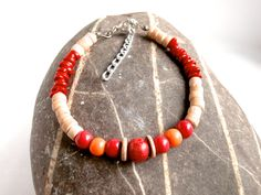 Wood / Red Bracelet - Repurposed by ReTainReUse on Etsy