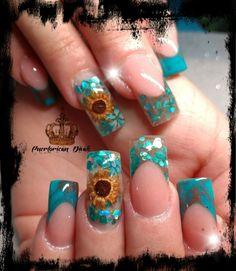 Cute Acrylic Nail Designs, Blue Nail Designs, Nail Polish Designs, Beautiful Nail Designs, Cute Acrylic Nails, Nails Design, Daisy Nails, Blue Nails, My Nails
