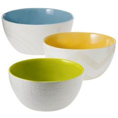 Threshold™ Ceramic Serving Bowl Set of 3 - Blue/Yellow/Green and White