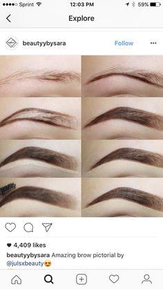 Make Up; Make Up Looks; Make Up Augen; Make Up Prom;Make Up Face; Makeup Steps Source by twaalam Eyebrow Makeup Tips, Skin Makeup, Beauty Makeup, Makeup Steps, Makeup Eyebrows, Eyebrow Wax, Eye Brows, Eyebrow Shapes, Flawless Makeup