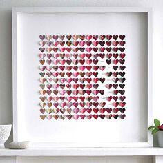 framed paper heart artwork by sarah & bendrix   notonthehighstreet.com