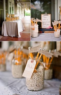 JENN, this is cool & rustic-ish... using clip board and pencils to decorate cute for reunion or back to school party