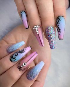 8 Fantastic Pink Nail Designs Glitter Color Combos 2019 : Have a look! Nail Design Glitter, Pink Nail Designs, Acrylic Nail Designs, Nails Design, Beautiful Nail Designs, Fancy Nails, Love Nails, Pink Nails, My Nails