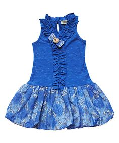 Look at this #zulilyfind! Blue & Gray Lace Bubble Dress - Toddler & Girls by Sophie Catalou #zulilyfinds