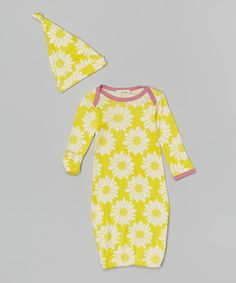 Look at this zebi Yellow Sunflower Organic Gown & Single-Knot Beanie - Infant on #zulily today!