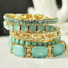 5PCS of Fresh Colored Bead and Rhinestone Embellished Bracelets For Women