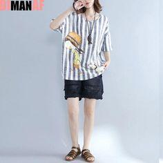 fbdf1d6103 DIMANAF Summer T-Shirt Plus Size Women Linen Cartoon Striped Print Female  Casual T-Shirt Loose Short Sleeve Big Size Tops Tees