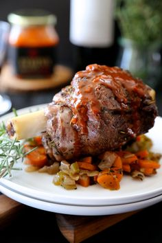 Climbing Grier Mountain herb roasted lamb shanks with harissa wine sauce - Climbing Grier Mountain