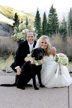 Wedding couple with dog by Mountain Flowers of Aspen, via Flickr