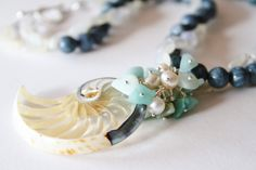 Natural Gems Pearl Necklace-Unique Shell Aqua Moonstone Necklace-Beach Dreams-Unique Beach Necklace-Statement Jewelry-Handmade Jewelry by ClassyTouchByValia on Etsy
