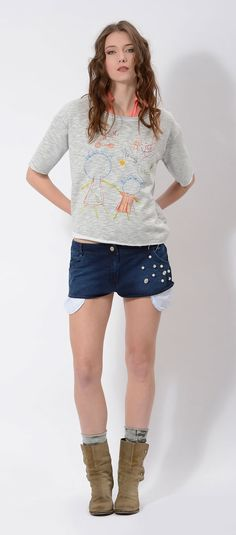 #printed #sweater on #denim #shorts #denimshorts embellished with #pearls and #crystals #italian #design