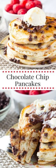 Perfectly stackable, super fluffy Chocolate Chip Pancakes. Made with buttermilk for the perfect flavor & filled with mini chocolate chips. These are delish!
