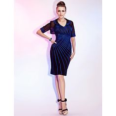 Sheath/Column V-neck Knee-length Stretch Satin And Tulle Cocktail Dress With A Wrap – USD $ 98.99