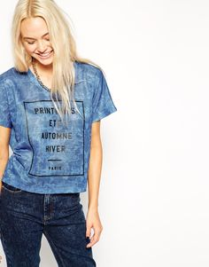 Cropped Boyfriend T-Shirt in Texture with French Seasons Print! Now on http://ootdmagazine.com/store/product/cropped-boyfriend-t-shirt-texture-french-seasons-print/ #fasion