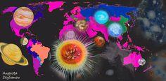 World Map And Planets  Augusta Stylianou