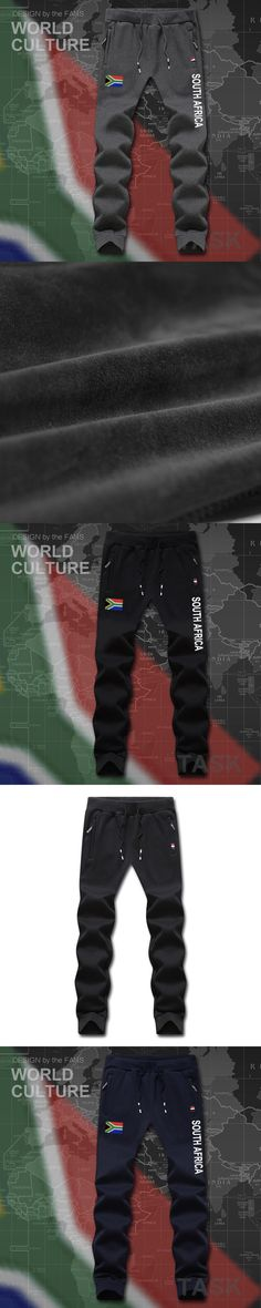 South Africa African ZA RSA mens pants joggers jumpsuit sweatpants track sweat fitness fleece tactical casual nation country NEW
