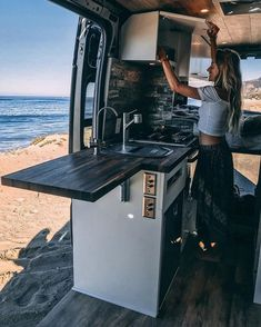 16 Camper Remodel Ideas That Will Inspire You to Hit the Road - van life Bus Life, Camper Life, Bus Camper, Kombi Motorhome, Kombi Home, Camper Van Conversion Diy, Sprinter Van Conversion, Van Conversion Kitchen, Van Conversion Layout