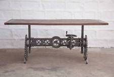 "84"" L Crank dining table iron steam punk gears solid wood top industrial design"