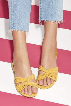 Yellow suede flat sandals   Sole Society Dahlia