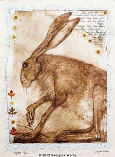 'Hugh's Hare' art by Georgina Warne. He looks like an old man, with many tales to tell.
