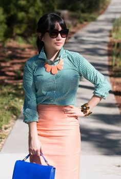 Green gingham and peach, who knew it would look so pretty?