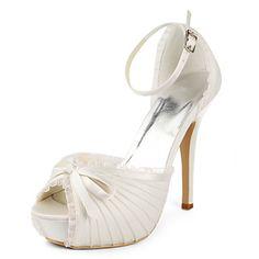 plataforma do salto stiletto com sapatos de cetim ruffleswedding (mais cores) - BRL R$ 98,21