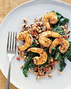 Cumin-Dusted Shrimp with Black-Eyed Peas and Collard Greens via Martha Stewart
