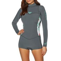 Roxy Wetsuits - Roxy Syncro 2mm 2018 Back Zip Long Sleeve Shorty Wetsuit - Ash/ Pistaccio