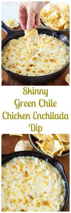 Skinny Green Chile Chicken Enchilada Dip - 4 ounces low fat cream cheese, room temperature 1 cup plain non fat Greek yogurt 1/2 cup green enchilada sauce 7 ounce can diced green chiles 1/2 t. cumin 1/2 t. chili powder 1/2 t. kosher salt 3 cups cooked chicken, shredded 1/2 cup part skim mozzarella 1/2 cup monterey jack cheese, divided