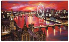 London Fire, by Paul Kenton #city #London #Thames #LondonEye #art