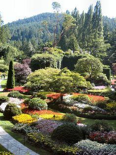 butchart garden, place, sunken garden, botanical gardens