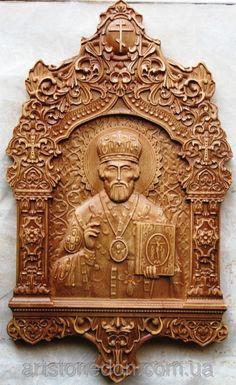 Икона резная Святого Николая Чудотворца
