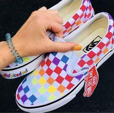 Rainbow Checkerd Vans🌈 Vans Sneakers, Vans Shoes, Sneakers Fashion, Cute Vans, Cute Shoes, Me Too Shoes, Rainbow Vans, Rainbow Sneakers, Vanz