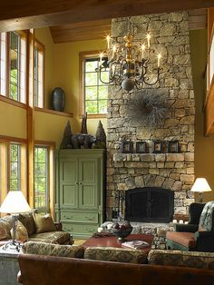 Stone Fireplace and Exposed Beams in Living Room. | Flickr - Photo Sharing!