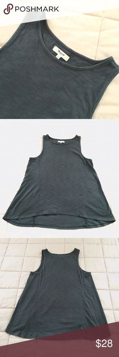 Madewell Tank Top Madewell slate gray/bluegreen tank top. Hi-lo style, size small. Gently worn, no stains or flaws. Cut the tags out, but this feels like a viscose/cotton blend. Loose fit. Madewell Tops Tank Tops